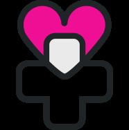 icona con una croce e un cuore che rappresenta il volontariato negli ospedali e nelle associazioni
