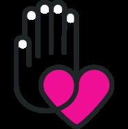 icona con una mano e un cuore che rappresenta il sostegno