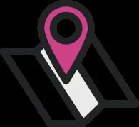 icona di una mappa che rappresenta dove trovare i laboratori di bellezza de La forza e il sorriso in tutta Italia